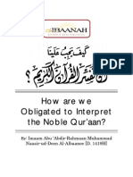 How Are We Obligated to Interpret the Noble Quraan - Imaam Abu Abdir-Rahmaan Muhammad Naasirudeen al-Albaanee