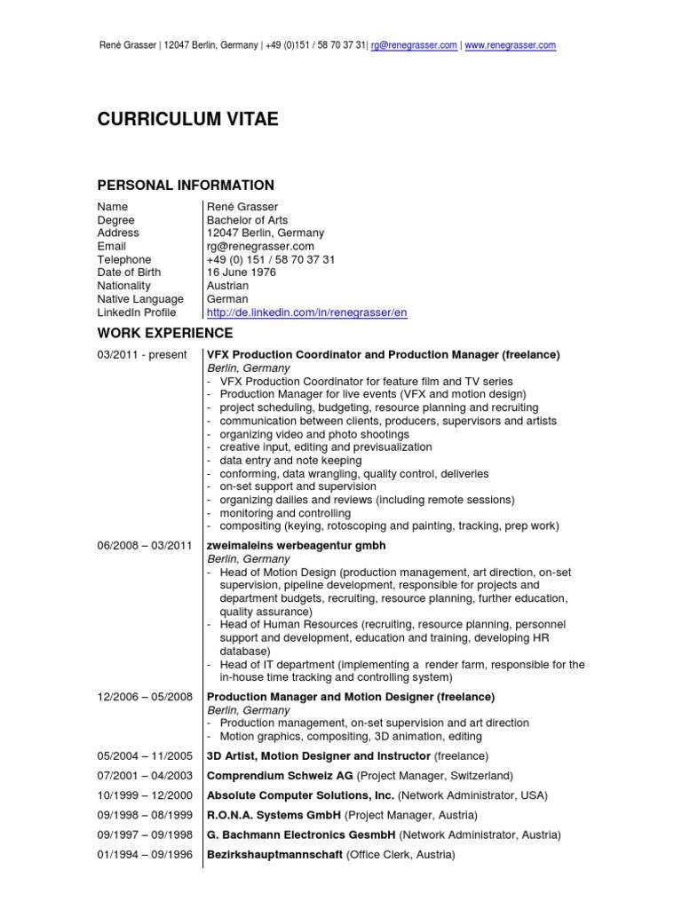 vfx production coordinator in vancouver london cv resume rene