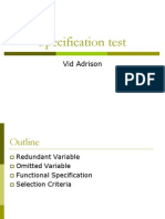 Specification Test