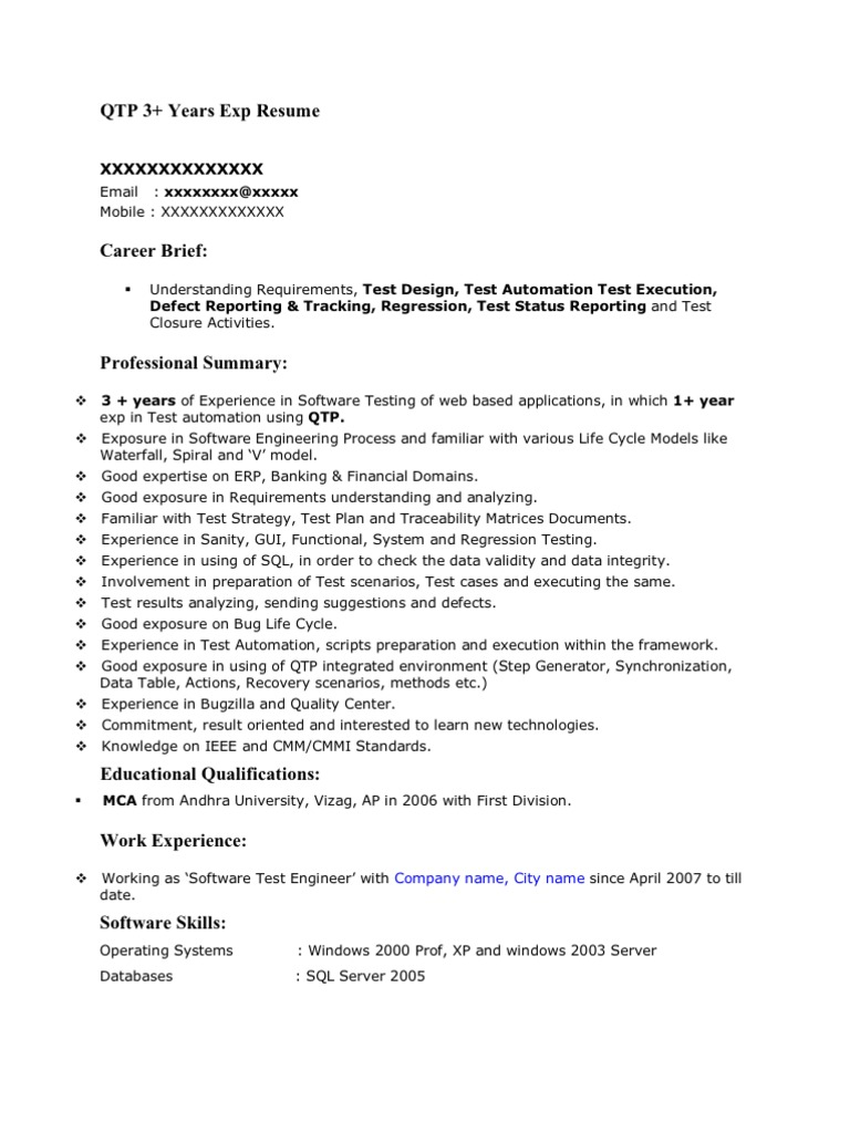 Qtp 3yrs sample resume baditri Image collections