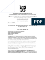 EXPOSICION DEL PRESIDENTE DEL CONSEJO DE MINISTROS, OSCAR VALDÉS DANCUART