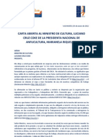 CARTA ABIERTA MINISTRO CRUZ COKE DE PDTA. NAC. ANFUCULTURA MARIANELA RIQUELME