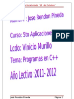 PROGRAMAS C++ JOSE RENDON