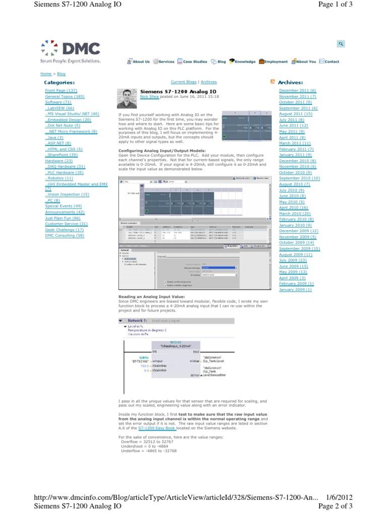 Siemens S7-1200 Analog IO   Input/Output   Signal (Electrical