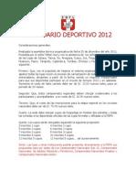 CALENDARIO DEPORTIVO 2012 y 2013