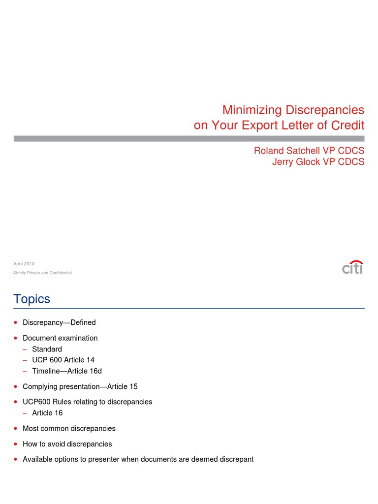 Lc Discrepancies Letter Of Credit Bill Of Lading