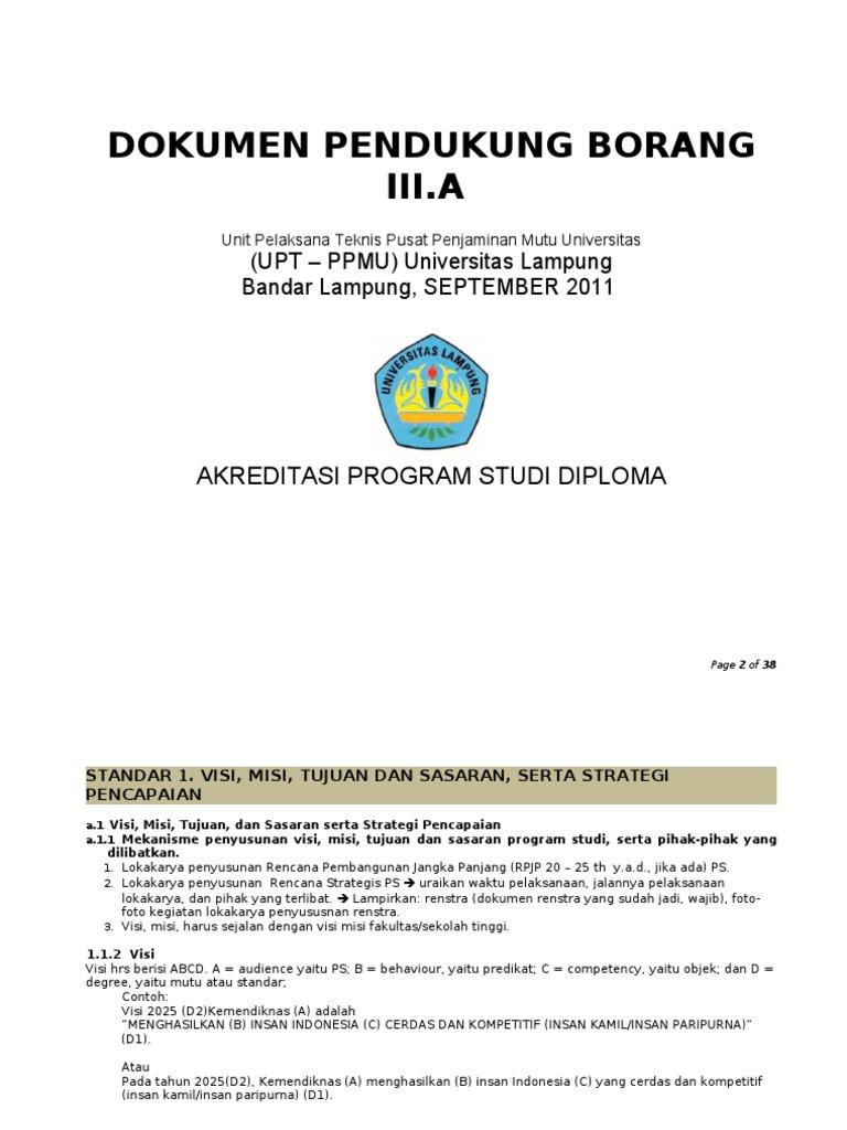 5 Draft Tabel Pendukung Borang Ps Diploma