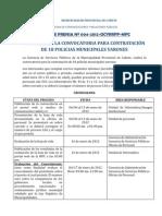 CONVOCATORIA PARA CONTRATACIÓN DE 18 POLICIAS  MUNICIPALES