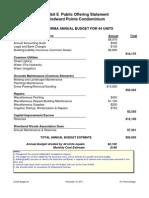 Windward Pointe - Condo Budget