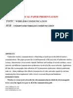 Seminar on Underwater Wireless Communication