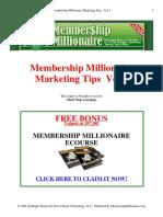 Dont Stop Learning Membership Millionaire Marketing Tips Vol 1