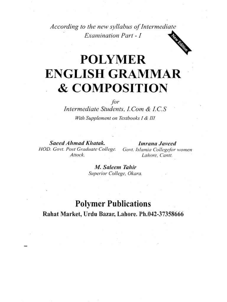 POLYMER English Grammer for F sc  and F a