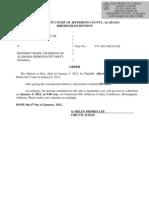 Alabama - Primary Ballot Challenge - Obama - Order - Motion for Stay Denied - Hendershot