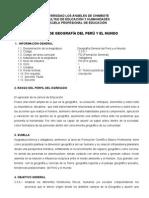 Silabus de Geografia General Del Peru y El Mundo