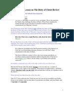 SDA Sabbath School Trinity Lesson Review, Monday January 2, 2012