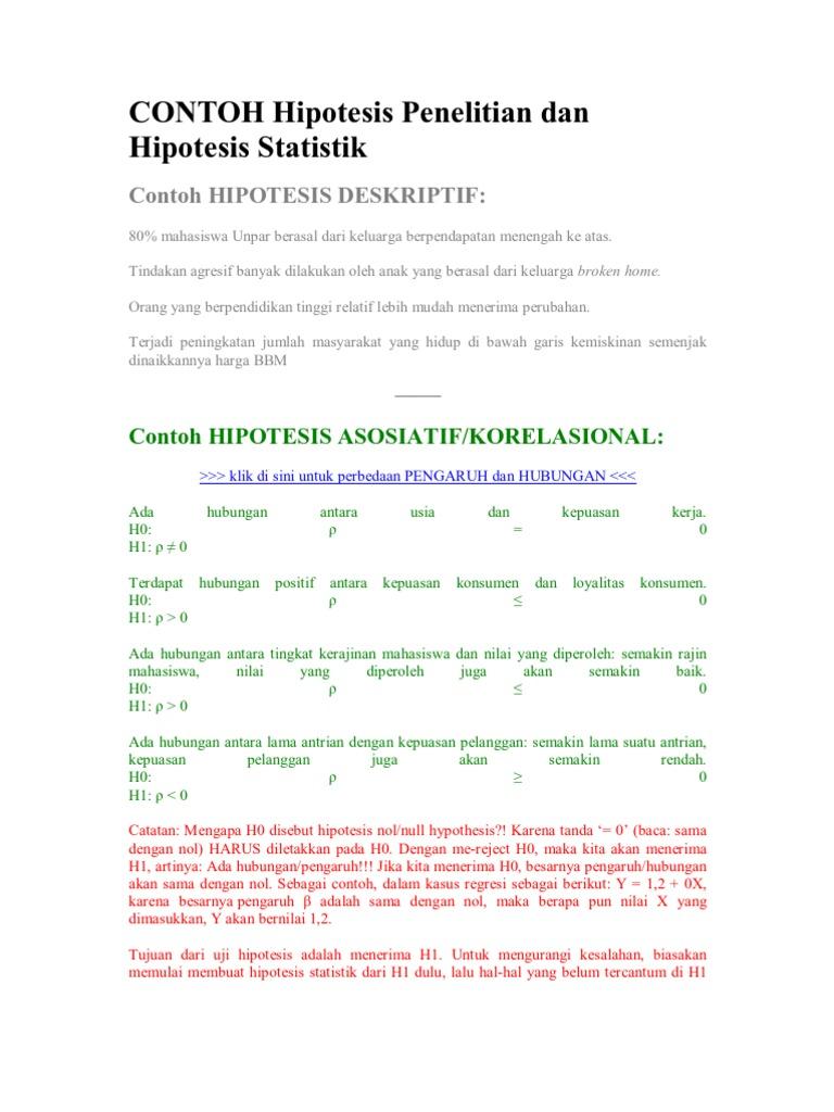 Contoh Hipotesis Penelitian Dan Hipotesis Statistik