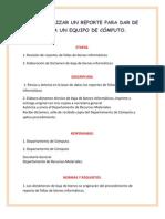 COMO REALIZAR UN REPORTE PARA DAR DE BAJA A UN EQUIPO DE CÓMPUTO