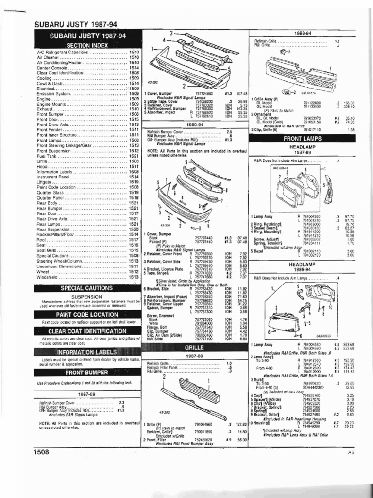 Justy 87 94 Parts List