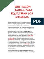 MEDITACIÓN SENCILLA PARA EQUILIBRAR LOS CHACKRAS