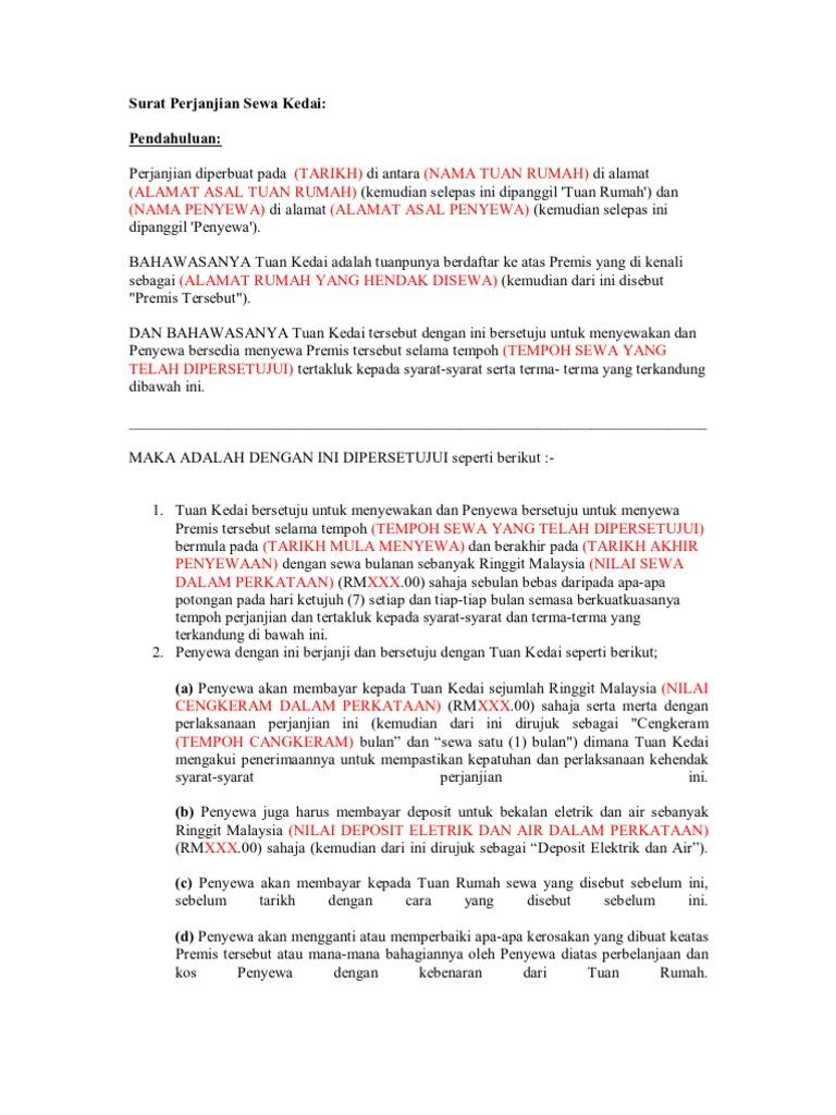 Contoh perjanjian sewa menyewa rumah pdf editor