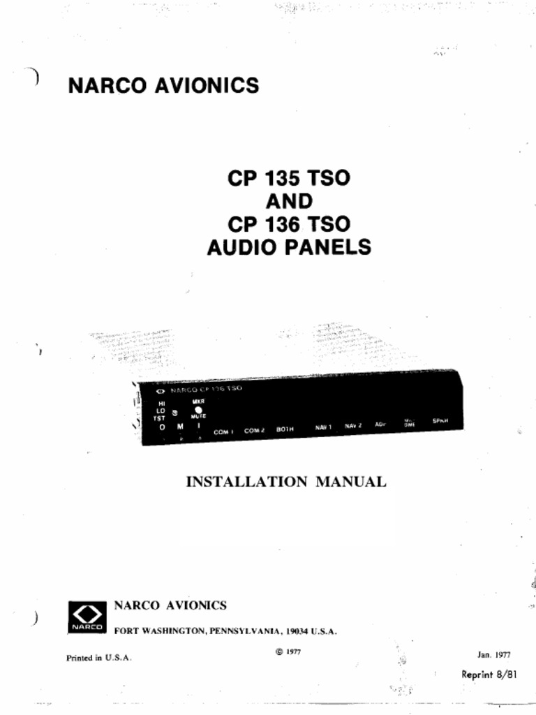 Narco Audio CP135-CP136 Installation Manual