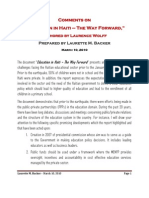 """Comments on  """"Education in Haiti – The Way Forward,""""  authored by Laurence Wolff"""