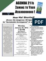 Agenda 21 flyer for Albany, NY area Jan 23