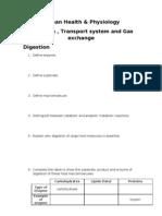 Human Health Digestion, Transport, Gas exchange