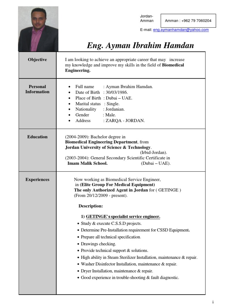 Perfect Government Biomedical Engineering Resume Ideas ...