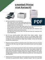 Tips Membeli Printer Untuk Kertas A3