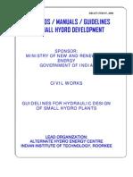 Hydraulic Design of Small Hydro Plants