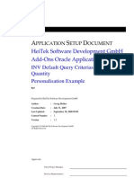 Personalization - Default Query Criterias Onhand Quantity