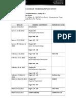 10th grade- modern european history- wynne- sp2012 reading schedule