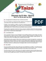 Invitación Taizé 2012