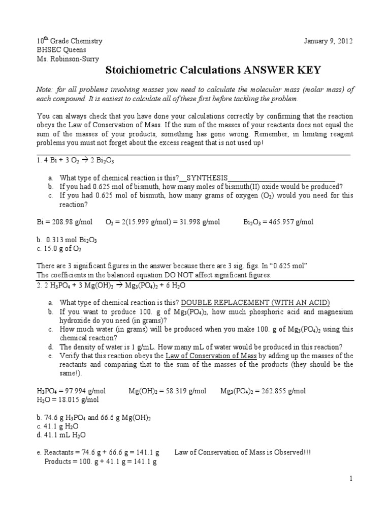 Stoichiometric Calculations Worksheet KEY – Stoichiometric Calculations Worksheet