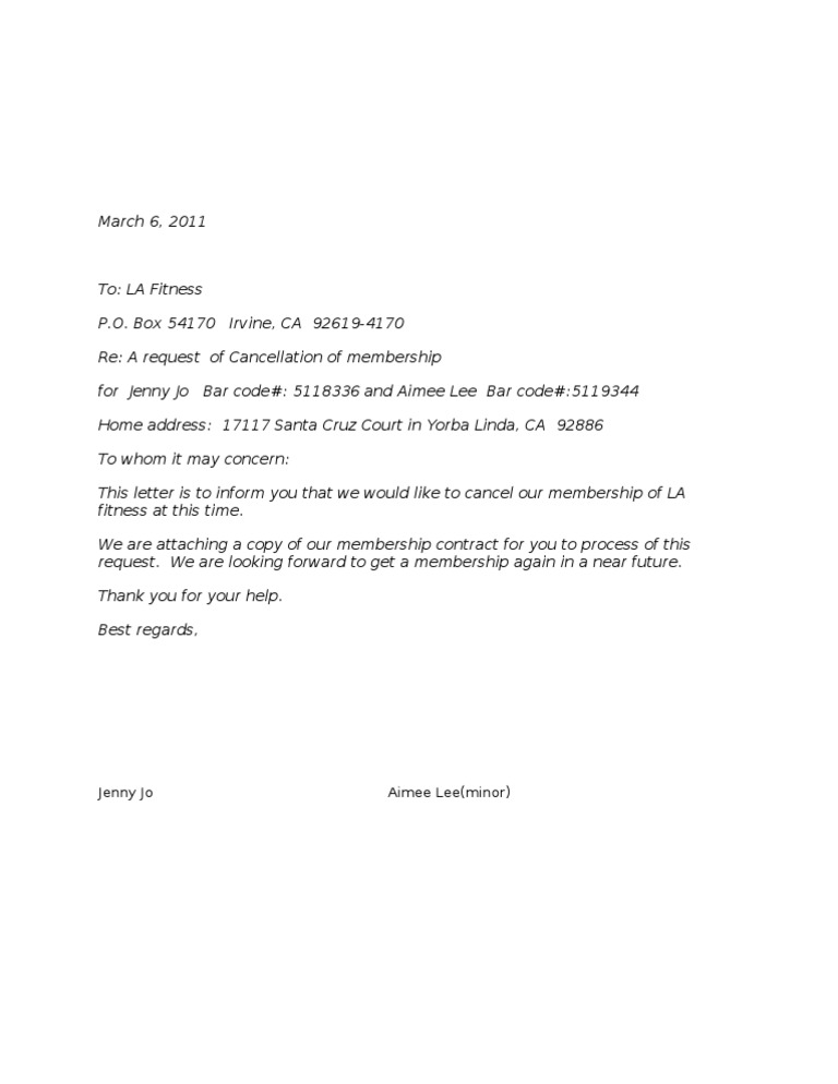 Cancellation Letter LA Fitness – Notice of Cancellation Letter