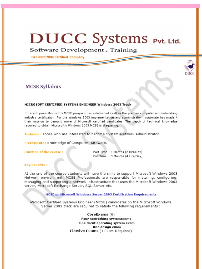 Mcse Syllabus Windows Server 2003 Computer Network