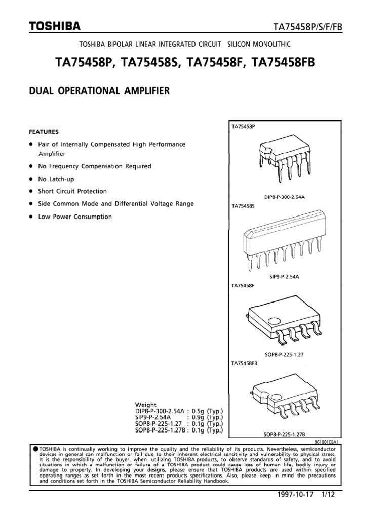 IC TA75458P Dual Op-Amp