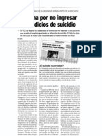 Condena Por No Ingresar Ante Indicios de Suicidio