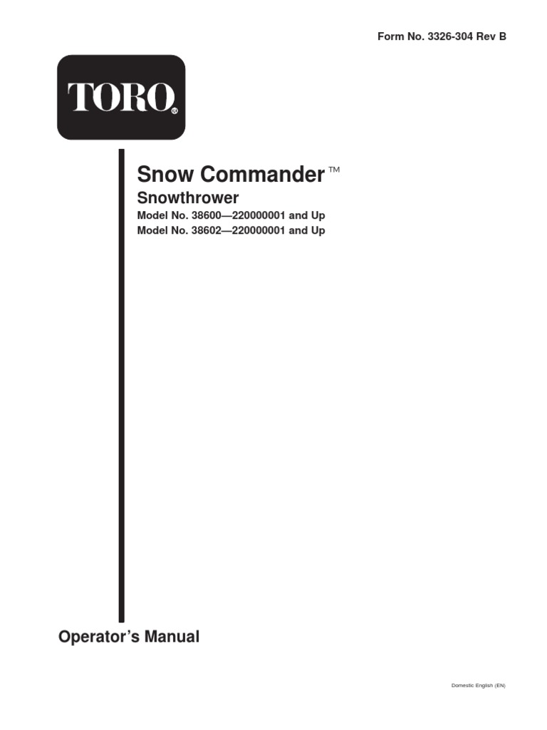 toro snow thrower owners manual