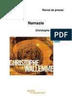 """Revue de presse de l'album """"Namaste"""" de Christophe Wallemme (BEE016)"""