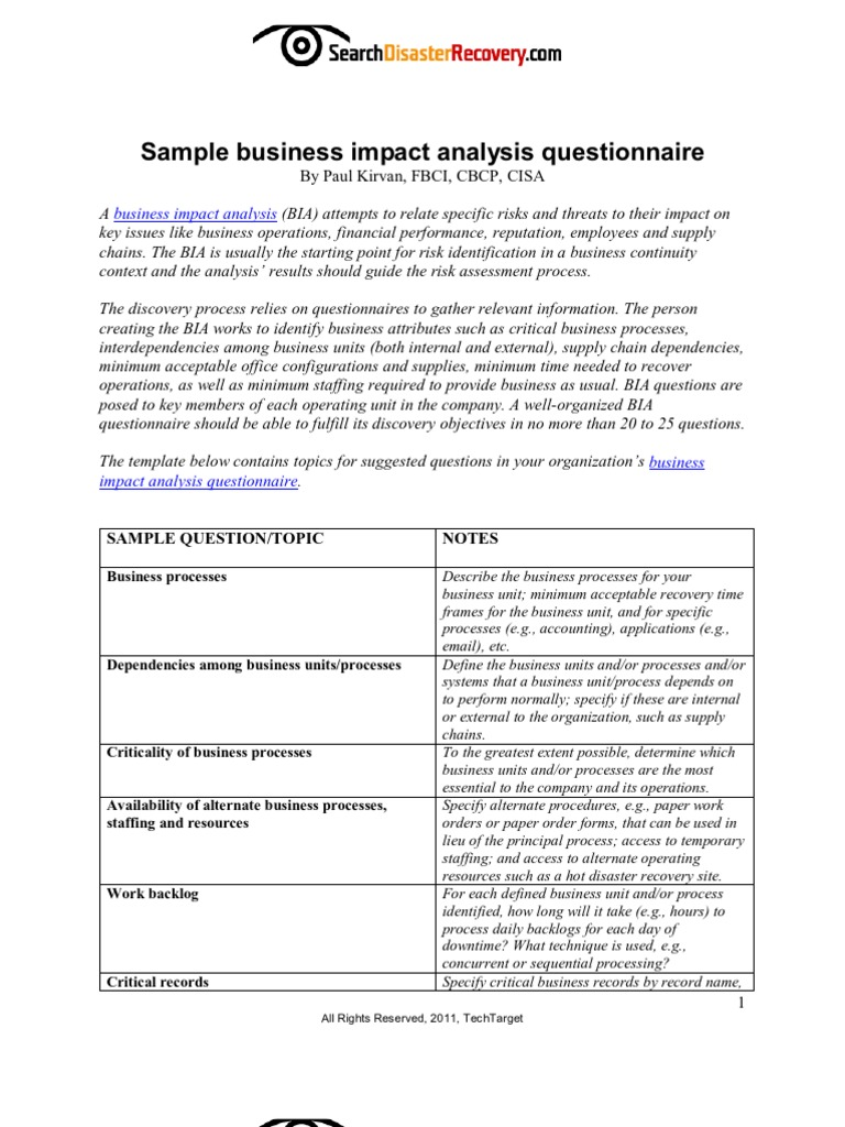 Business impact analysis questionnaire cheaphphosting Images