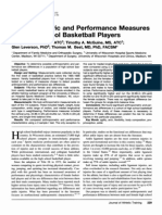 Anthropometric and Performance Measures for High School Basketball Players
