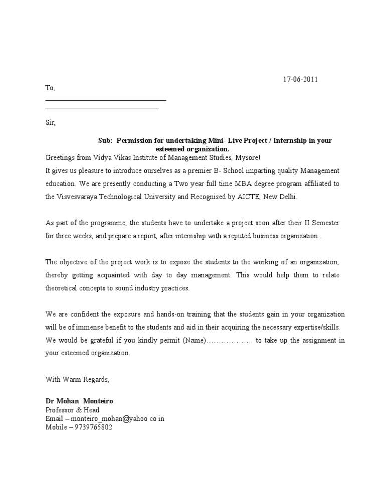 Permission Letter Format For Inplant Training Permission Letter