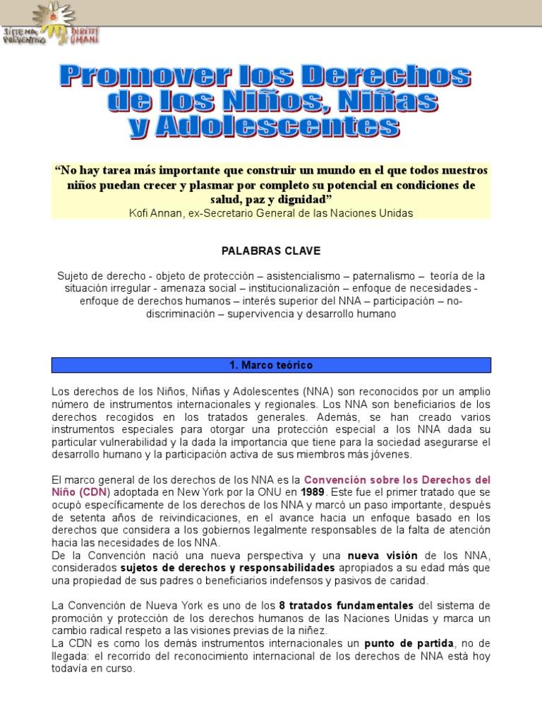 Promover Los Derechos de Los NiÑos, NiÑas y Adolescentes