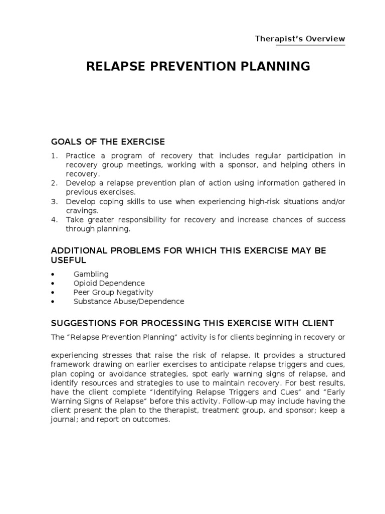 Worksheets High Risk Situations For Relapse Worksheet relapse prevention planning recovery approach