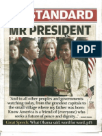 The Standard (newspaper in Kenya).  January 21, 2009.  Mr President Barack Obama.