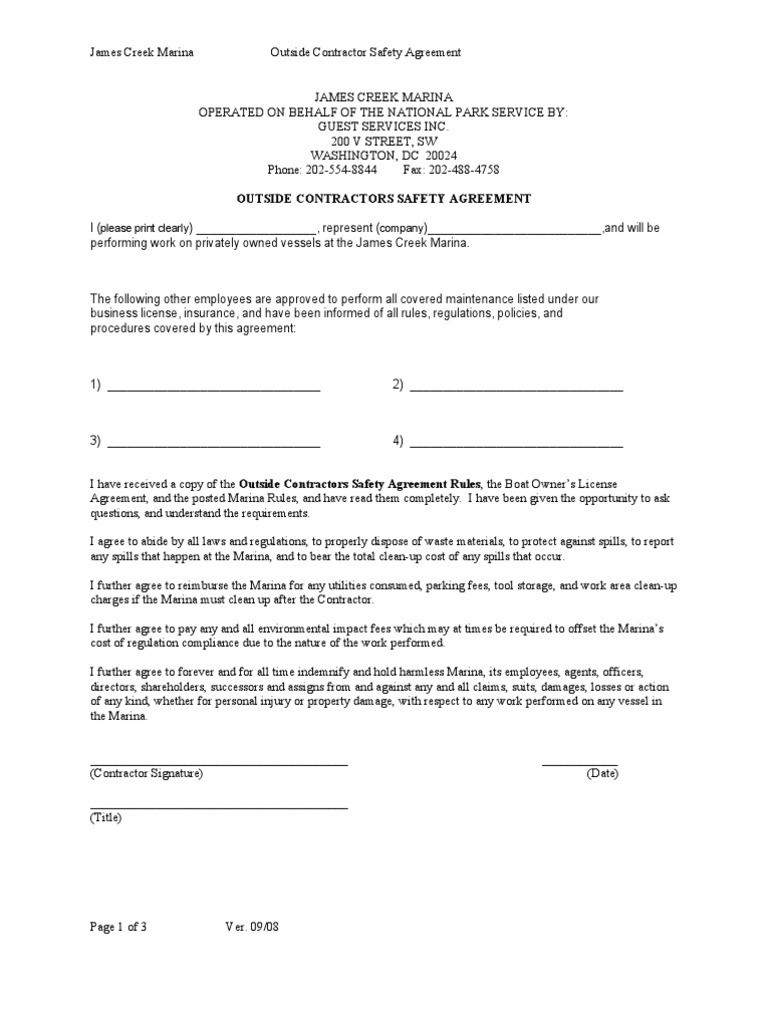 Outside Contractor Safety Agreement 09 08 General Contractor Paint