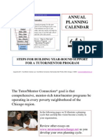 Planning Calendar for Volunteer-Based Tutor/Mentor Programs