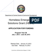 HOMELESS EMERGENCY SOLUTIONS GRANT APPLICATION